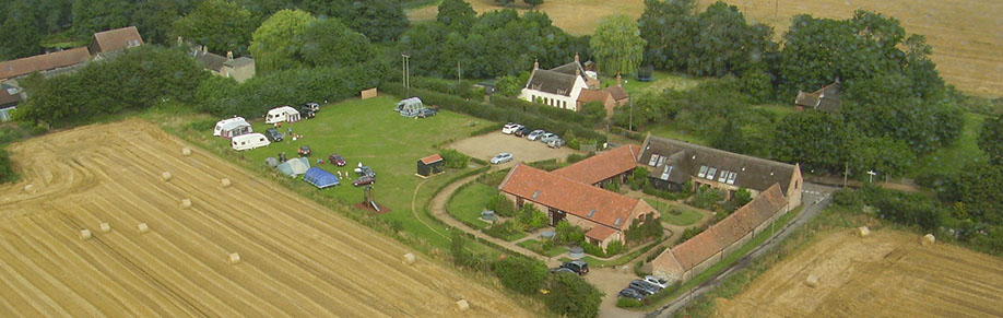 Aerial shot of Grove Barn Holiday Barns and the campsite in Catfield Norfolk.